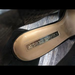 Audrey Brooke Shoes - Audrey Brooke peeptoe heels cage black heels 10